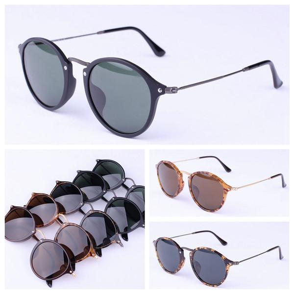Designer de óculos de sol redondo estilo homens mulheres óculos de sol de vidro lentes UV400 des lunettes de soleil estojo de couro original, acessórios, caixa, etc