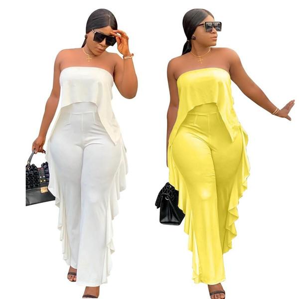 Bonne Qualité Combinaisons Solides Femmes Sexy Plissée Volants Large Jambe Longueur De La Cheville Longueur Bretelles Pantalon Mode Femmes Jumpsuit Pant Jaune