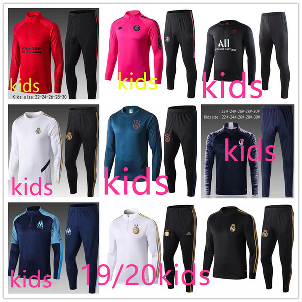 top popular top 19 20 real madrid ajax psg kids soccer tracksuit 2019 2020 paris mbappe hazard kids designer clothes boys training suit jogging chandal 2019