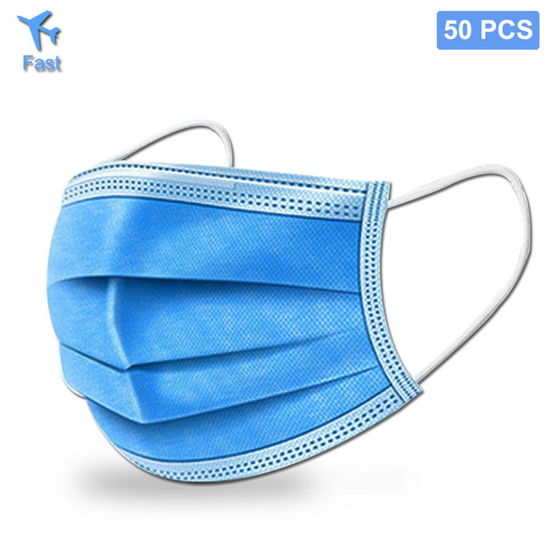 top popular Mask In Stock Fast Delivery Blue 3 Layers Filter Disposable Dustproof Saliva-proof Earloop Non Woven Mouth Masks 2020
