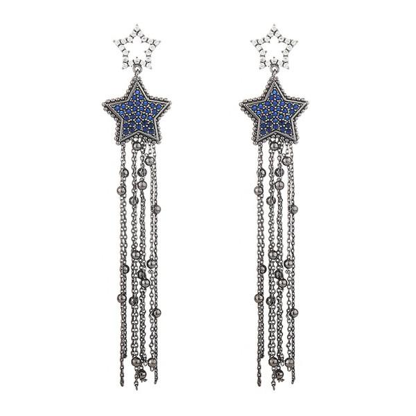 Tasarımcı Düğün Takı Kadınlar Uzun Püskül Küpe Marka Elmas Yıldız Saplama Küpe Kadın Moda Gümüş Kulak Saplama