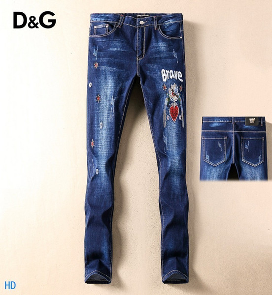 2019 New Fashion Design For Men High Quality And Exquisite Korean Edition Jeans Embroidery Slim Casual Small Straight Foot Trousers 24