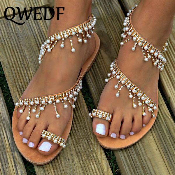 QWEDF Novas mulheres sandálias de verão liso artesanal frisado dedo aberto gladiador sapatos de moda senhoras roma sandálias de praia SC-01