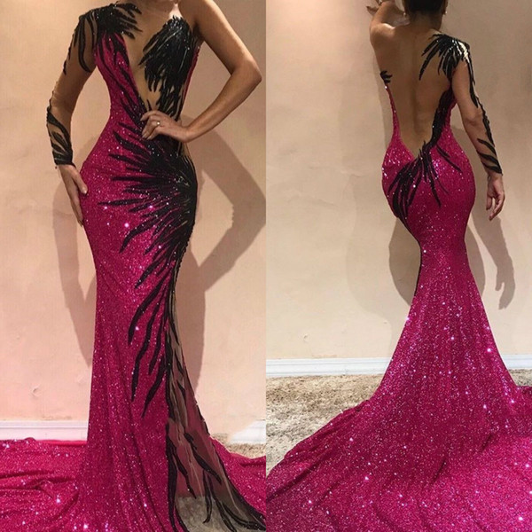 One Shoulder Sequined Evening Dresses Mermaid Style Sheer Long Sleeve Appliqued Sexy Prom Gowns Custom Made robes de soirée