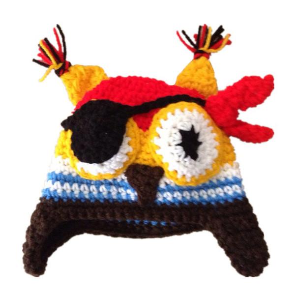 Super Cool Baby Pirate Owl Hat,Handmade Knit Crochet Baby Boy Girl Animal Cap,Infant Halloween Costume,Newborn Photo Prop
