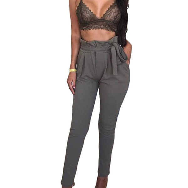 Comfortable Summer High Waist Lace Up Pants Pencil Sexy Bandage Bow Casual Pants Casual Streetwear Pants
