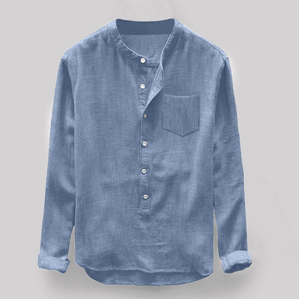 Feitong Linen Shirts Fashion Mens Autumn Winter Button Casual Linen Cotton Long Sleeve Top