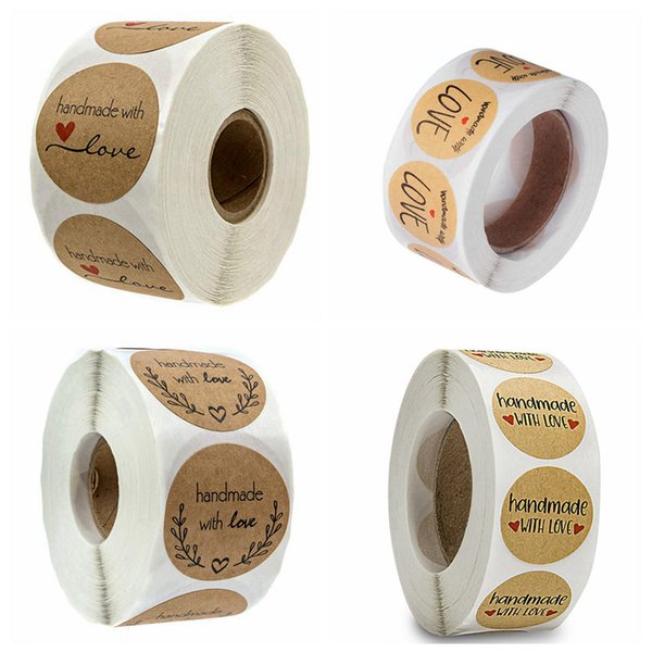 Handmade with Love Self Adhesive Sealing Stickers Craft Label Sticker for DIY Hand Made Gift Cake Candy Paper Tags 1 Roll=500pcs
