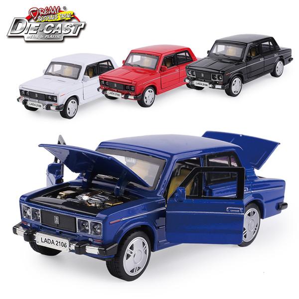 15 cm Russia Lada 2106 Diecast Model Metal Car, Ragazzi regalo Giocattoli con porta apribile / tirare indietro Funzione / musica / luce Q190604
