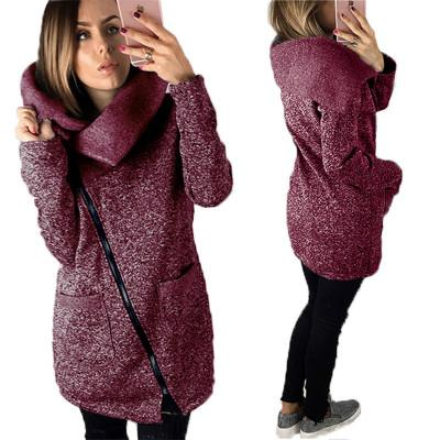 Moda Feminina Outono Inverno Hoodies Velo Manter Camisolas Quentes Com Zíper Turndown Collared Casaco Senhora Jaqueta Plus Size