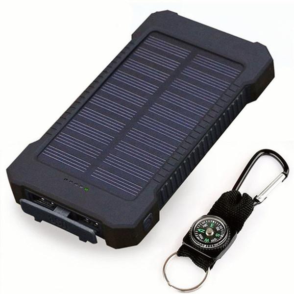 Top Solar Power Bank À Prova D 'Água 20000 mAh Carregador USB Portas Carregador Externo Powerbank Smartphone com Luz LED para xiaomi
