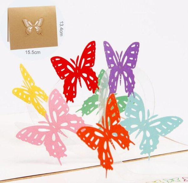 3D creative colorful butterflies gift card Valentines' Day Birthday universal handmade paper carving hollow greeting blessing card