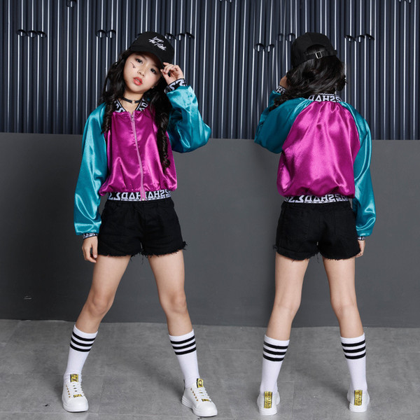 Niñas Ropa de baile de salón Disfraces de Hip Hop para niños Pantalón corto Crop Top Dance Wear Chaqueta de jazz Ropa de baile Streetwear