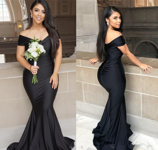 Black Mermaid Long Bridesmaid Dresses 2019 Plus Size Off Shoulder Floor length Garden Maid of Honor Wedding Party Guest Gown
