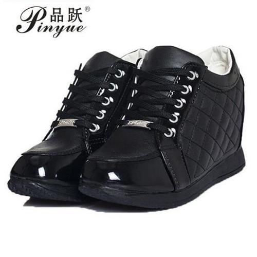 Dress Hot Sales New 2019 Autumn Black White Hidden Wedge Heels Casual Shoes Women's Elevator High-heels Boots For Women Rhinestone