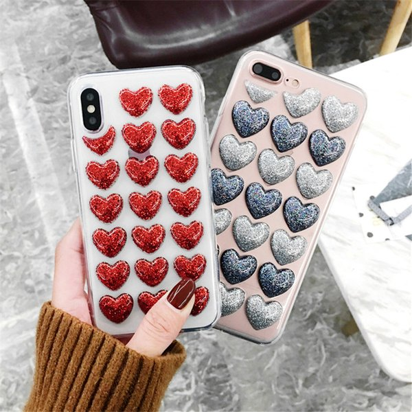 New Fashion Bling Glitter Heart Glue Silicon Body Case For iPhone 7 8 XR XS Max 6 6s Plus Back Cover 3D Loves Sequins Soft Case