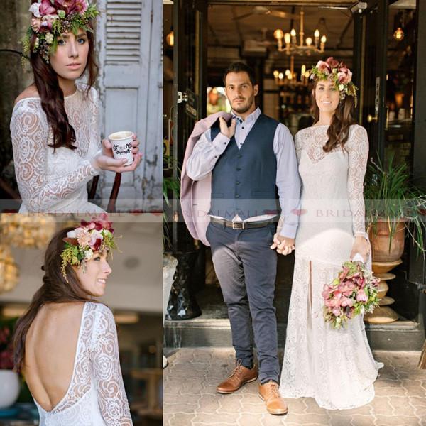 2019 белые кружевные свадебные платья с длинным рукавом русалка Boho с пляжными свадебными платьями с разрезом и спиной деревенское платье невесты Vestidos De Novia