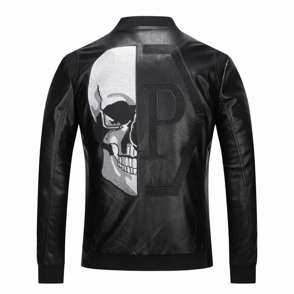 2019 Giacche in pelle da uomo tuta sportiva di alta qualità Skull Patterned primavera inverno Biker moto in eco-pelle PU cappotto per uomo