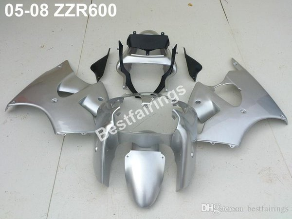 Injection plastic fairing kit for Kawasaki ZZR600 05 06 07 08 silver black fairings set ZZR 600 2005-2008 ZV29