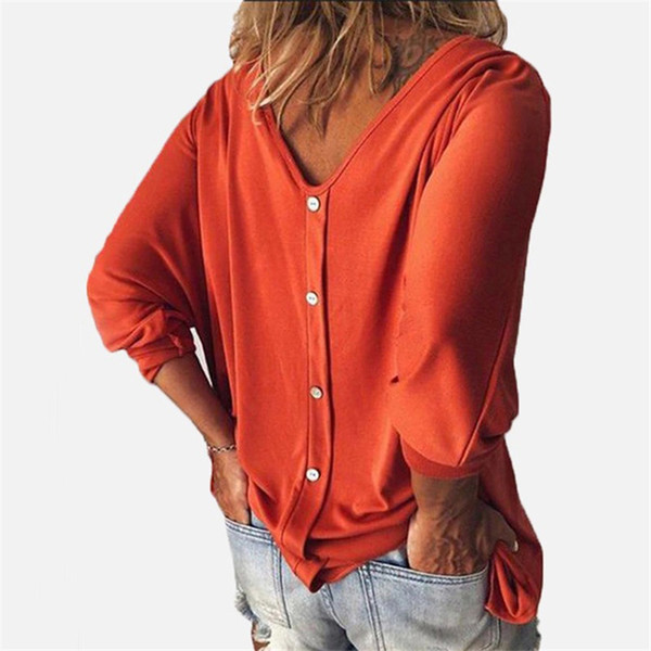 Women Batwing Sleeve Blouse Loose Solid Long Sleeve Tee Shirt V Neck Back Button Baggy Top Plus Size