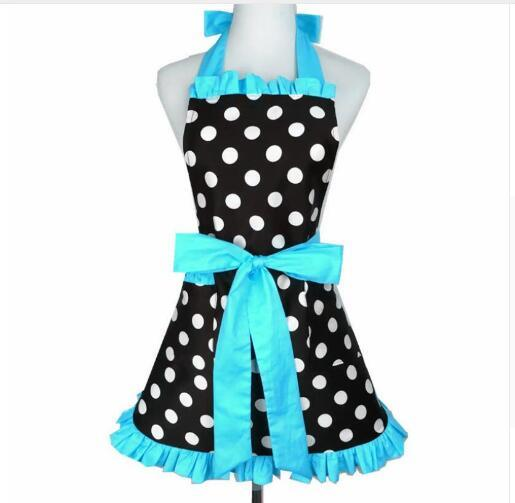 Women Aprons Sexy Cotton Dot Bowknot Bow Cooking Dress Apron for Polka Kitchen Woman Baking Restaurant Lady Maid With Pocket Gift 8 Colors