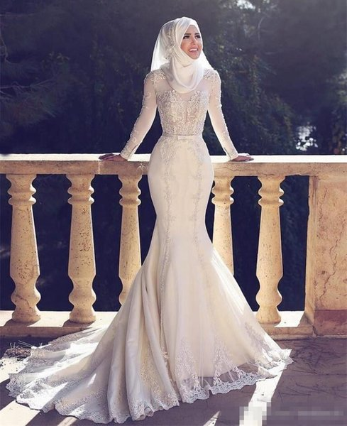 Lace Applique African Sheath Wedding Dreses With Long Sleeves High Neck Hijab Muslim Mermaid Bridal Dress For Brides Plus Size Wedding Gowns