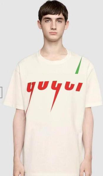 19 frühjahr neue luxus T-shirt farbabstimmung rand brief druck lose männliche T-shirt rundhals weibliches T-shirt