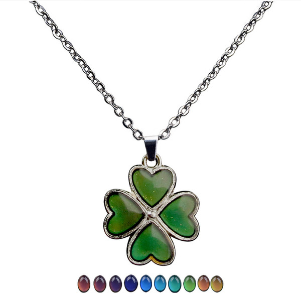 2019 new fashion clover changing color necklace stainless steel thermochromic lover's Valentine's Day pendants gifts wholesale with chains