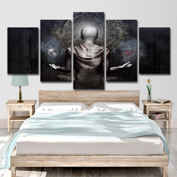 Art HD Printed 5 Piece Canvas Prints Abstract Buddha Paintings for Living Room on The Wall