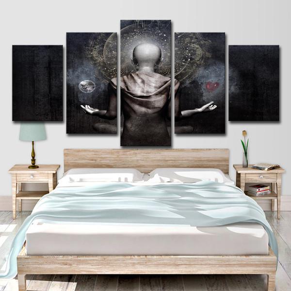 Art HD Imprimé sur toile 5 pièces imprime des peintures abstraites de Bouddha pour salon sur le mur
