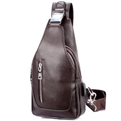 2019 new men's baotou layer cowhide men's chest bag leather cross backpack single-shoulder small bags Cross Body #44
