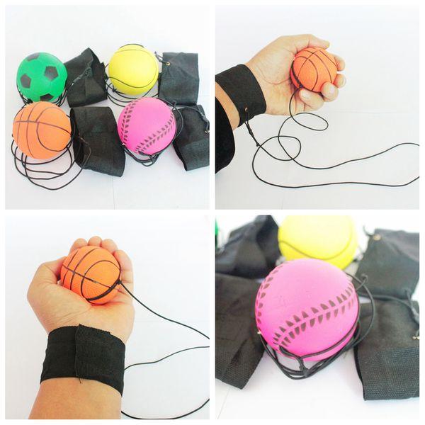 best selling 63mm Throwing Bouncy Ball Rubber Wrist Band Bouncing Balls Kids Elastic Reaction Training Antistress Balls school teaching tool FFA2081