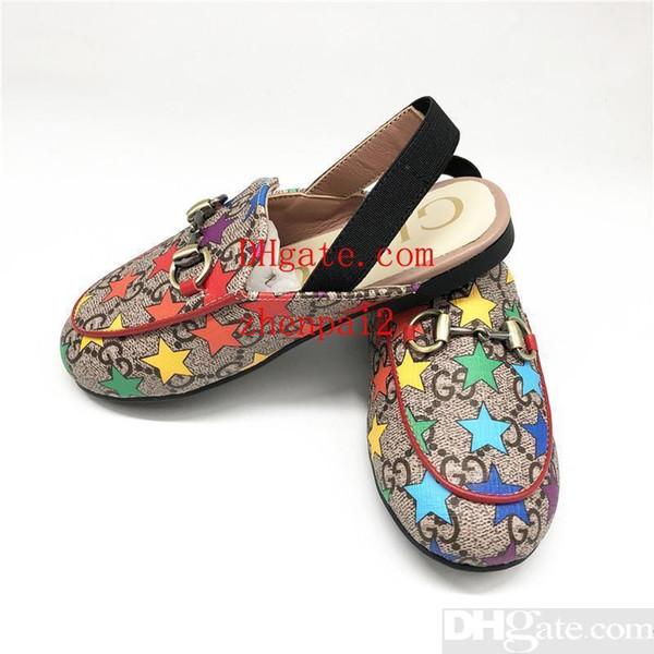 designer bambin garçons filles sandales luxe été enfants sandales haute qualité en cuir véritable vache muscle semelle chaussures coloré logo étoiles chaussures