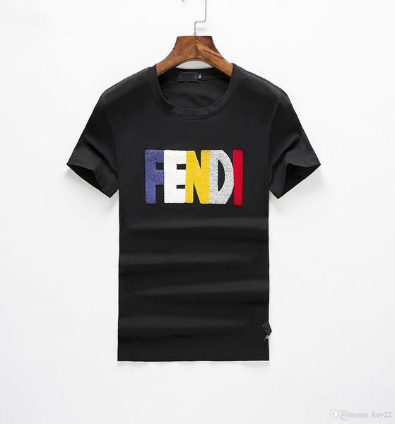 2019SSnew design lettre lettre broderie vêtements hommes T-shirt à manches courtes hommes chemise tigre tête lettre coton hommes cool