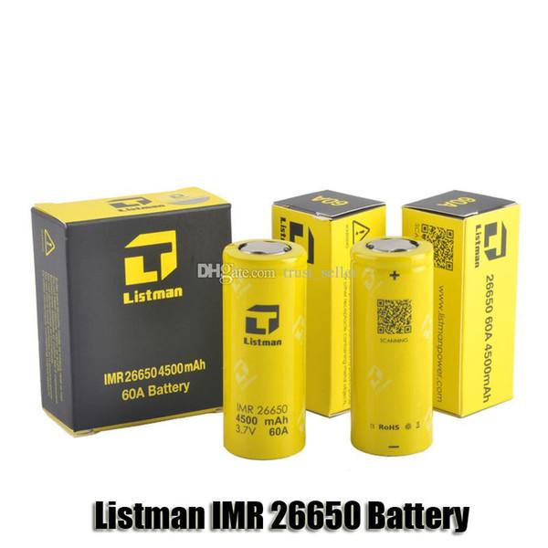 100% batterie d'origine rechargeable Listman IMR 26650 4500mAh 60A List Drain haut pour 510 fil Box Mod
