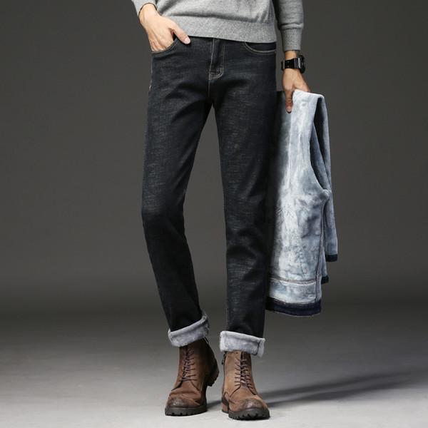Winter Jeans Men Black Slim Fit Stretch Thick Velvet Pants 2019 Men Fashion Warm Jeans Plus Size Casual Fleece Trousers Male