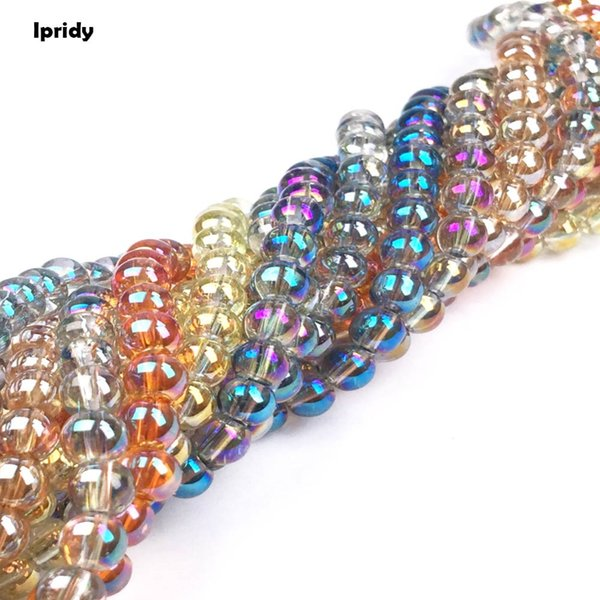 Ipridy Transparent White Coating Metallic Color Round Glass Bead Strands, 6mm 8mm 10mm Hole: 1.5mm 5 strands/lot