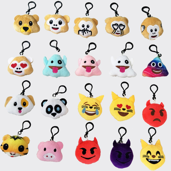 Emoji Keychain Mini Cute Plush Pillows Kids Party Supplies Favors Colorful Doll Emotion Soft Cushion Key Chain Keyring Bag Decor Accessories