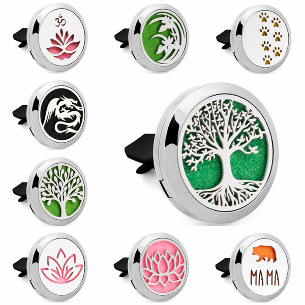 Tree of life Lotus Magent 30mm 316L Stainless Steel Car Diffuser Locket Aromatherapy Essential Oil Perfume Locket Vent Clip 10pcs Pads