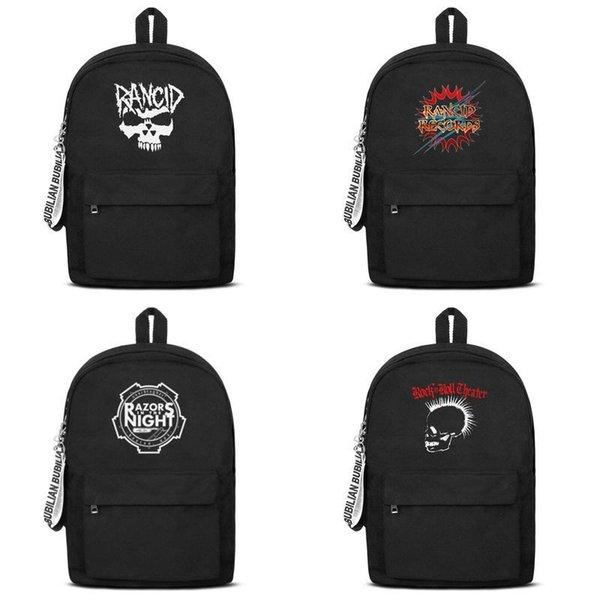 Rancid Skull white logo 2019 summer new arrival Fashion Print backpack College Bookbag Polka Dot Canvas Packable large capacity famous