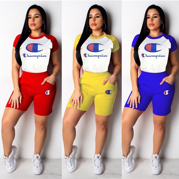 Şampiyonlar Mektup Şort Pantolon Eşofman Yaz Kısa Kollu Polo T Shirt + Şort 2 parça Kıyafetler Klasik Yuvarlak Boyun Jogging Yapan Spor A4903 Suits