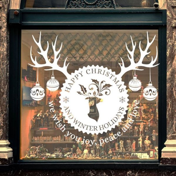 DIY Party Christmas Product Snowflake Fawn Santa Claus Christmas Tree Glass Wall Sticker Home Garden Festive Party Supplies PGM SH190918