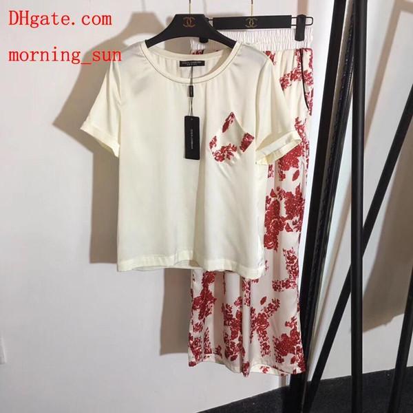 2019 женская одежда 2 шт. Комплект спортивный костюм женщины из двух частей наряды ptint футболки + цветок высокой талией широкие брюки женские одежда BC-5