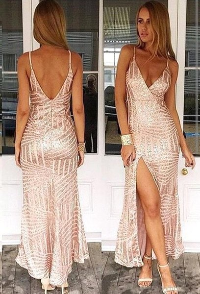 Sexy Rose Gold Sequined Prom Dresses Deep V Neck Cut Back Front Split Evening Party Gown BC1858