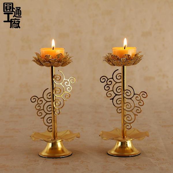 alloy lotus Candlestick Yuantong Buddha kerosene Lamp holder Buddhist temple Candlestick factory wholesale