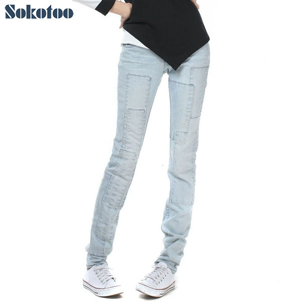 Sokotoo Women's all match light blue lengthened denim jeans for big and tall Spliced vintage pants cheap price high quality SH190908