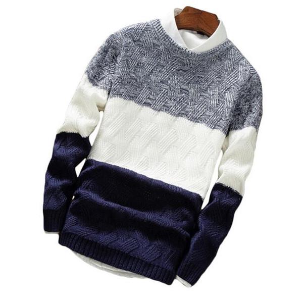 Herrenmode herbst / winter pullover lässig gestreiften männer oansatz pullover gestrickt männlich langarm 2018 herren pullover strickwaren
