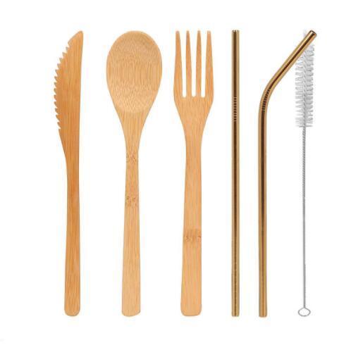 DHL Talheres De Bambu Conjunto de 5 Pçs / set e 3 pçs / set colher Garfo faca escova de palha Talheres Louça Conjunto casa de Jantar Cozinha Bar Cozinhar Ferramenta