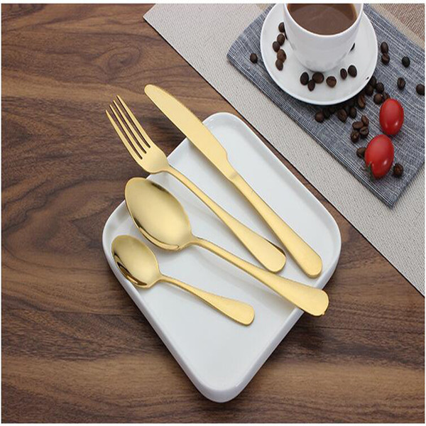 Flatware Set 4 Style Stainless Steel Knife Fork Spoon 4Pcs/Set Dinnerware Plated Cutlery Wedding Tableware Set 100PCS W9595