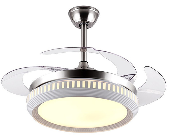 Invisible Ceiling Fan with LED Light and Remote Control 4 Retractable Blades Fan Chandelier for Bedroom Livingroom LLFA